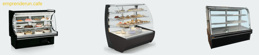 Muestra de vitrinas pasteleras refrigeradas para cafeteria
