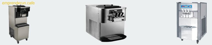 muestra de maquinas para hacer helado y yogurt para cafeteria