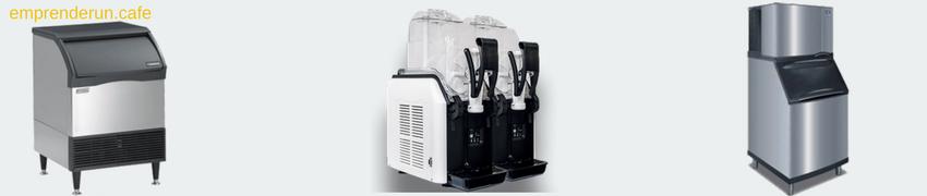 Muestra de maquinas o fabricas de hielo y granizadoras para cafeteria