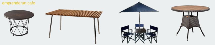 Muestra de varias mesas para el exterior de tu cafeteria