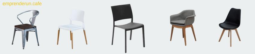 muestra de varias sillas para cafeteria